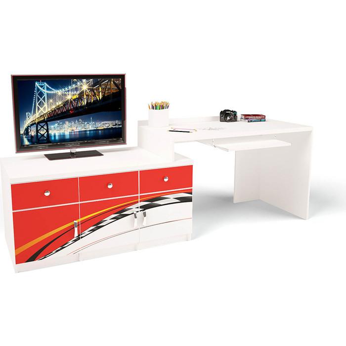 Стол модульный Г тумба ABC-KING 400+800 La-Man левый красный
