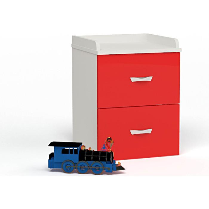 Тумба ABC-KING Белый каркас/красный фасад прикроватная