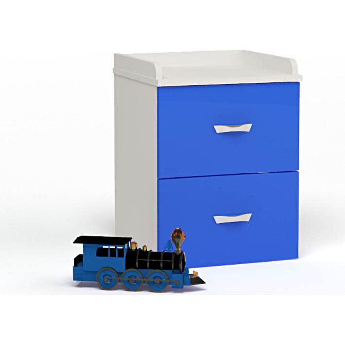 Тумба ABC-KING Белый каркас/синий фасад прикроватная