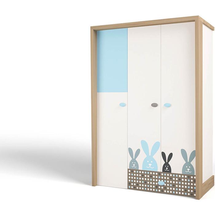 Шкаф ABC-KING Mix bunny голубой 3-х дверный