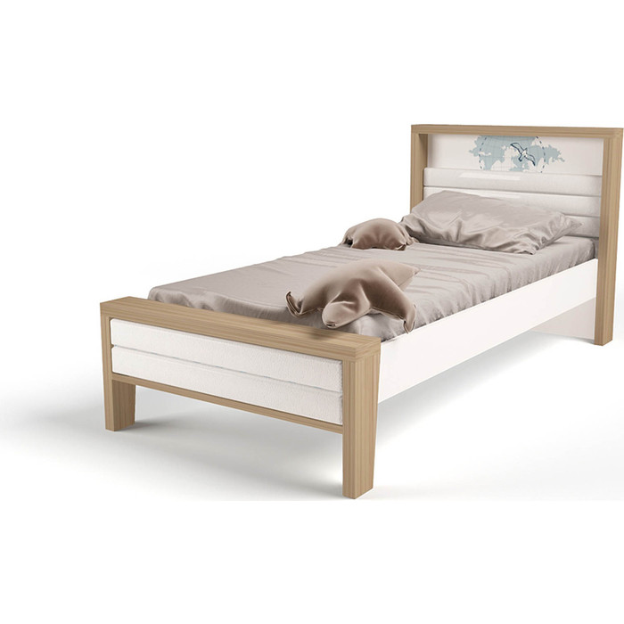 Кровать ABC-KING Mix ocean №2 мягкое изножье голубой 190x120 abc king кровать abc king mix ocean 6 с подъемным механизмом и мягким изножьем голубой 190 90