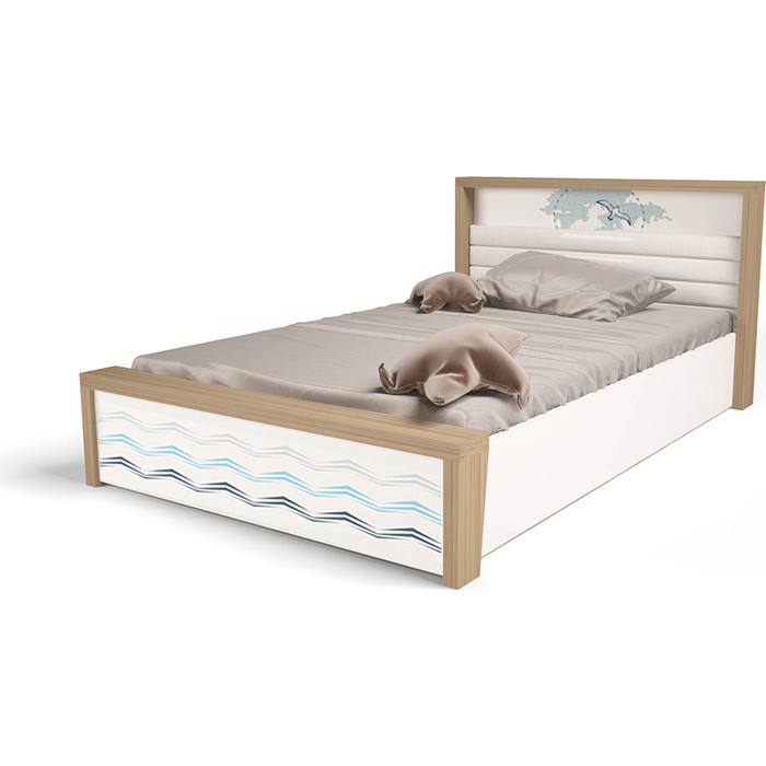 Кровать ABC-KING Mix ocean №5 подъемный механизм голубой 190x120 abc king кровать abc king mix ocean 6 с подъемным механизмом и мягким изножьем голубой 190 90