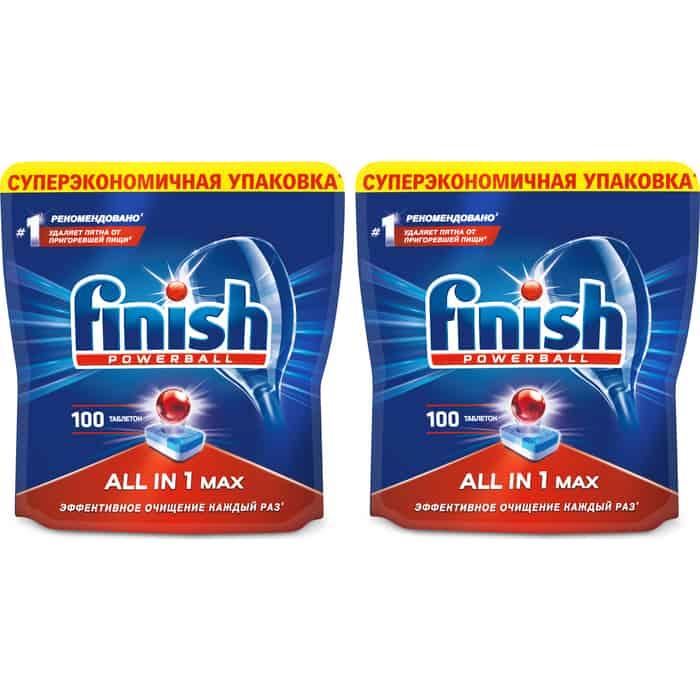 Комплект Finish Таблетки для посудомоечной машины All in 1 Max 200шт (2*100 шт)
