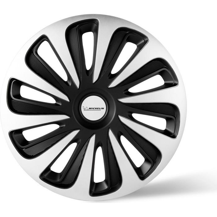 Колпаки колесные MICHELIN 16, Калибр, серебристо-черный, 4 шт.
