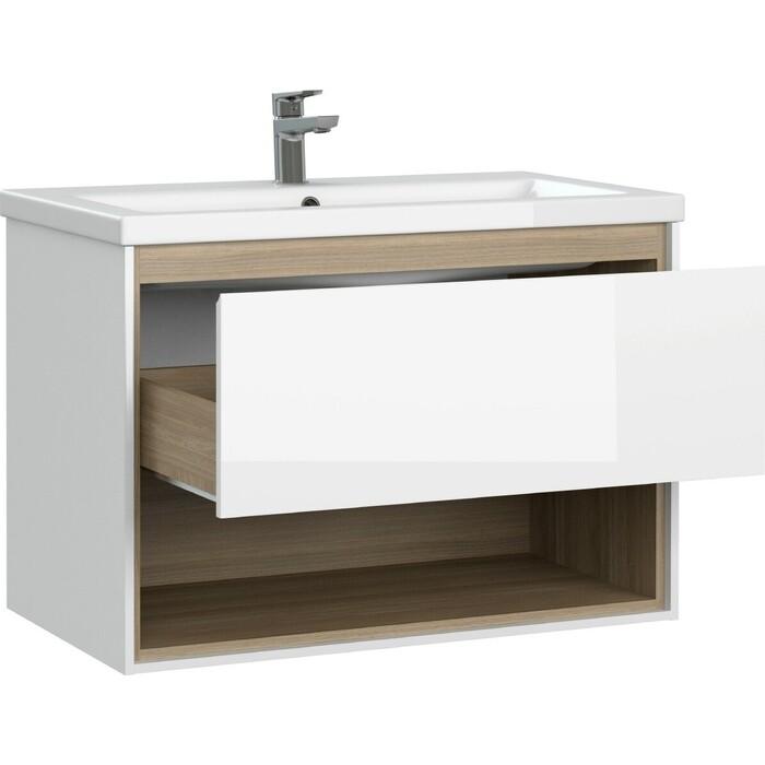 Мебель для ванной Cersanit Louna 80 один ящик, полка, белая