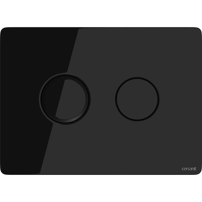 Клавиша Cersanit Aqua черная глянцевая, двойной смыв (P-BU-ACN-CIR-PN/Bl/Gl)