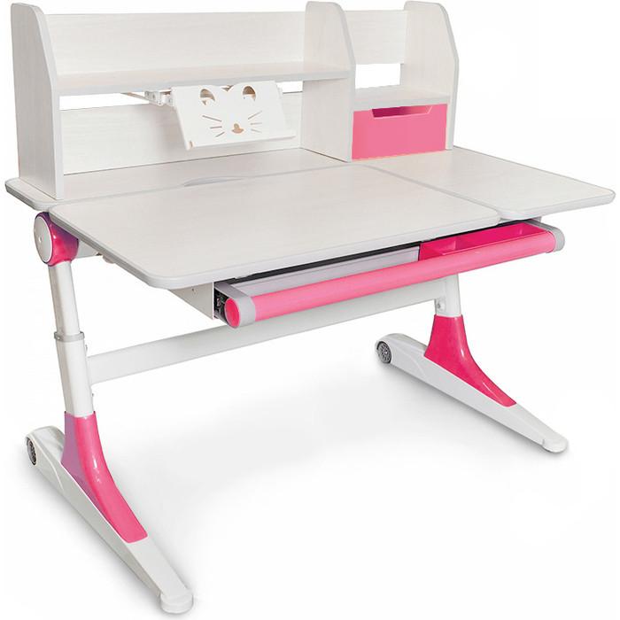Стол Mealux Ontario Pink (Evo-600 TG/PN) столешница белый дуб дерево/ножки белые с розовым