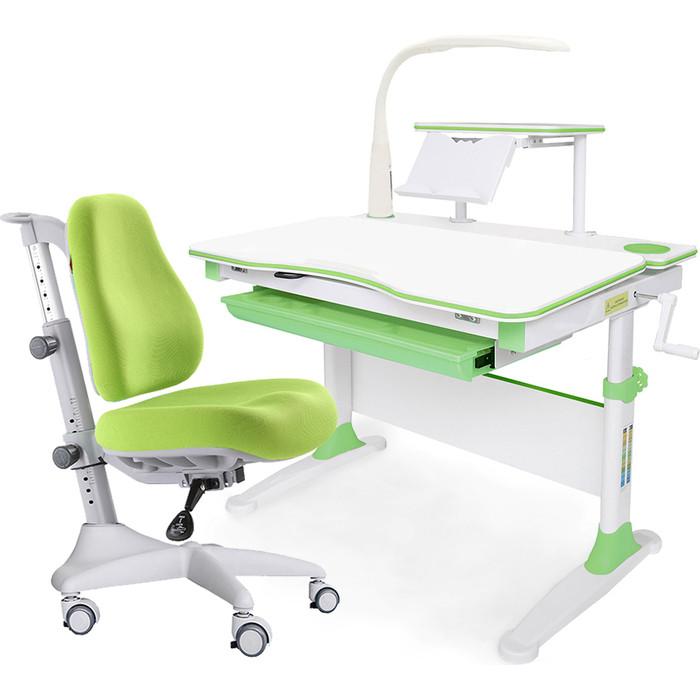 Комплект мебели (стол+полка+кресло+чехол+лампа) Mealux Evo-30 Z (Evo-30 + Y-528 KZ) белая столешница дерево/зеленый
