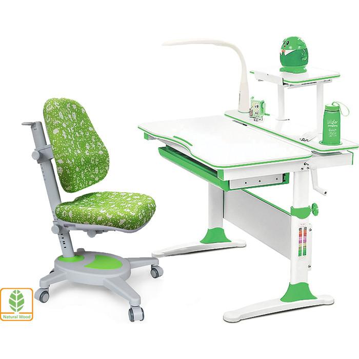 Комплект (стол+полка+кресло+чехол+лампа) Mealux Evo-30 Z (Evo-30 + Y-110 AZK) белая столешница дерево/зеленый