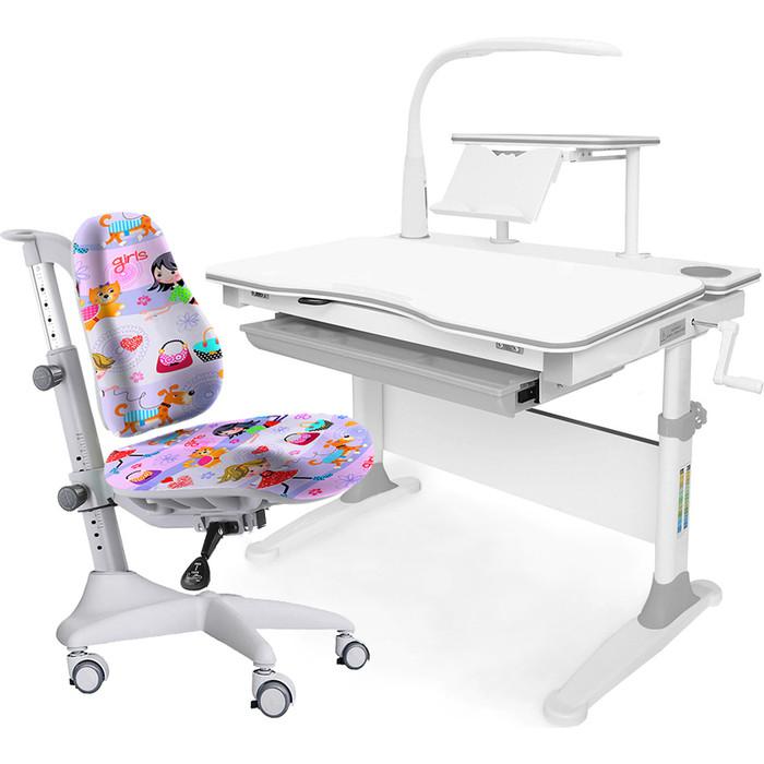 Комплект мебели (стол+полка+кресло+чехол+лампа) Mealux Evo-30 G (Evo-30 + Y-528 GL) белая столешница дерево/серый