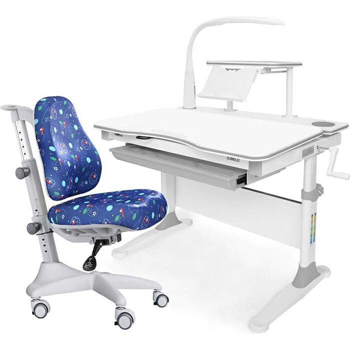 Комплект мебели (стол+полка+кресло+чехол+лампа) Mealux Evo-30 G (Evo-30 + Y-528 F) белая столешница дерево/серый