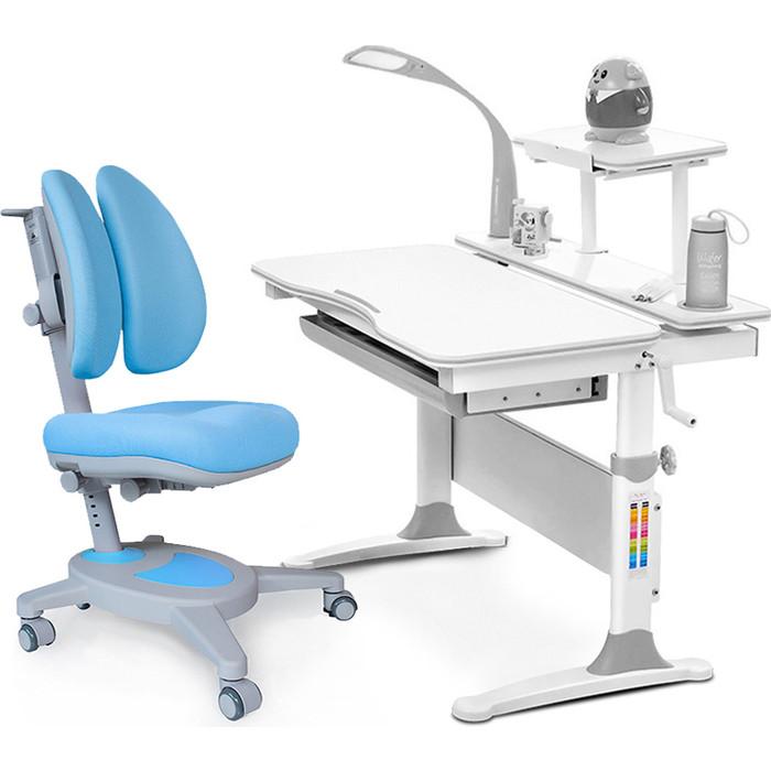 Комплект мебели (стол+полка+кресло+чехол+лампа Mealux Evo-30 G (Evo-30 + Y-115 KBL) белая столешница дерево/серый