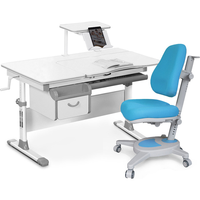 Комплект мебели (стол+полка+кресло+чехол) Mealux Evo-40 G (Evo-40 + Y-110 KBL) белая столешница/серый