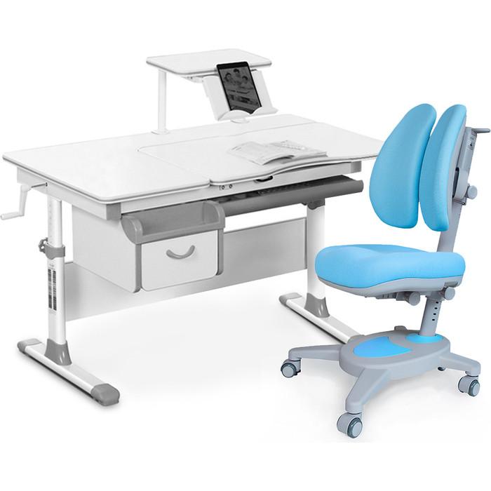 Комплект мебели (стол+полка+кресло+чехол) Mealux Evo-40 G (Evo-40 + Y-115 KBL) белая столешница/серый