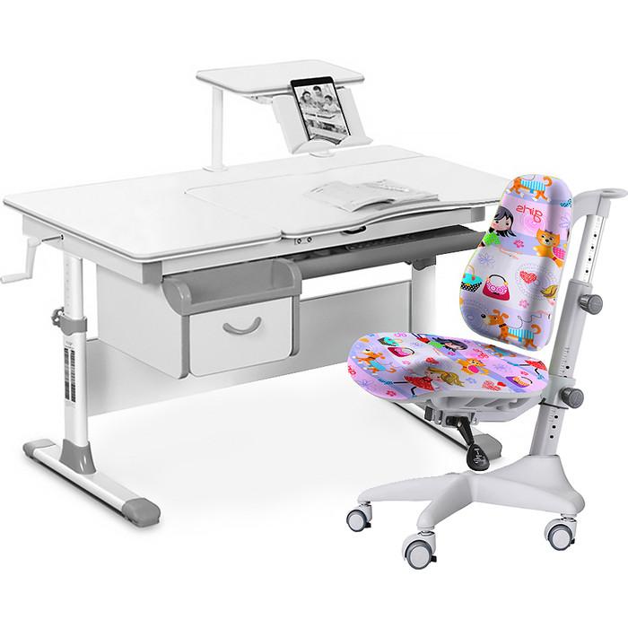 Комплект мебели (стол+полка+кресло+чехол) Mealux Evo-40 G (Evo-40 + Y-528 GL) белая столешница/серый