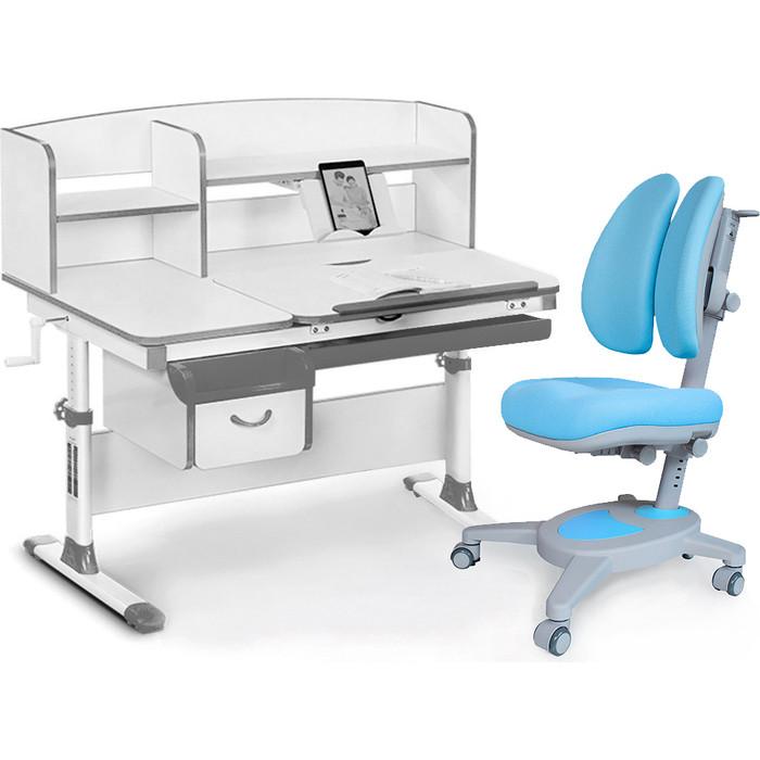 Комплект мебели (стол+полка+кресло+чехол) Mealux Evo-50 G (Evo-50 + Y-115 KBL) белая столешница/серый