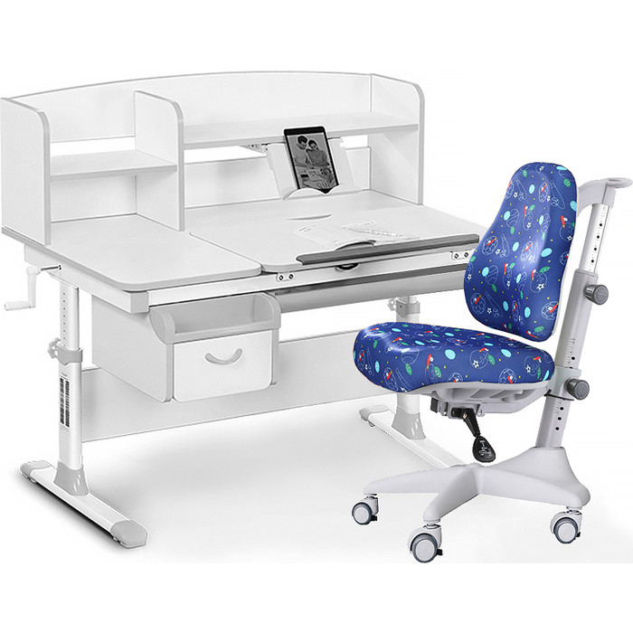 Комплект мебели (стол+полка+кресло+чехол) Mealux Evo-50 G (Evo-50 + Y-528 F) белая столешница/серый
