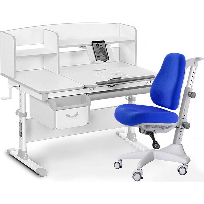 Комплект мебели (стол+полка+кресло+чехол) Mealux Evo-50 G (Evo-50 + Y-528 SB) белая столешница/пластика серый