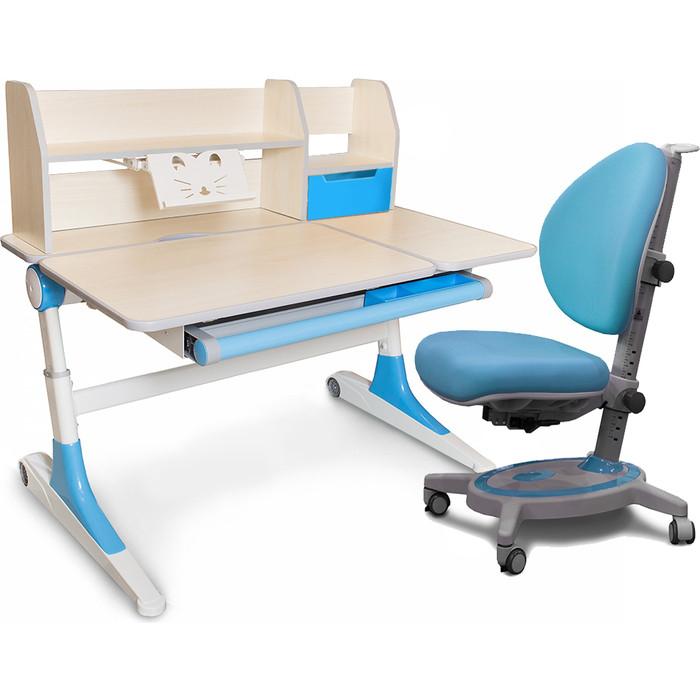 Комплект мебели Mealux Парта Ontario (левосторонняя) + кресло Stanford (BD-600 WB Y-130 KBL) столешница клен дерево/голубой