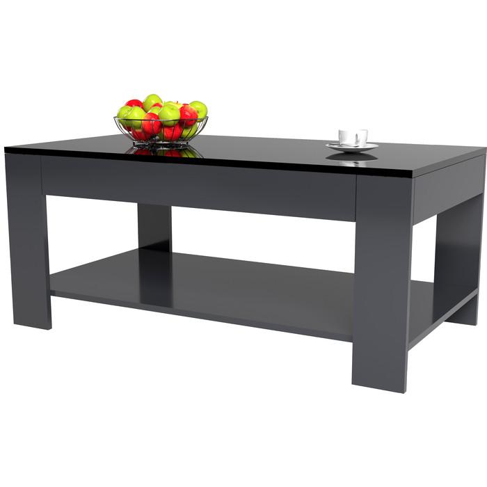 Стол журнальный Мебелик BeautyStyle 26 графит/стекло черное