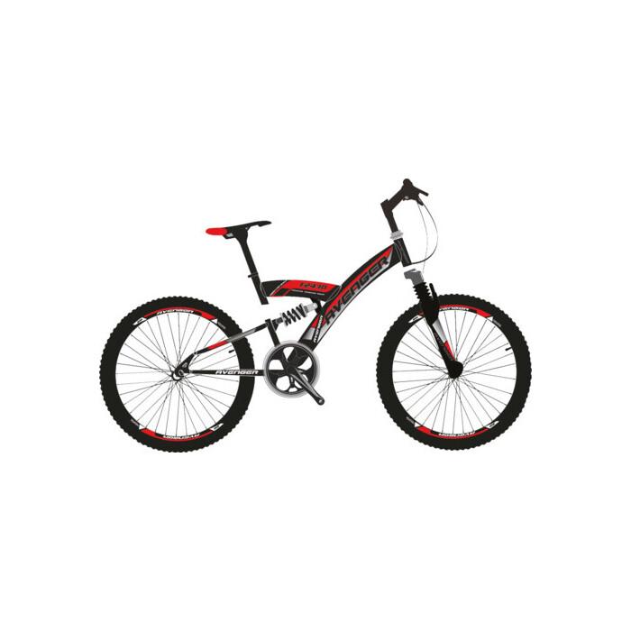 Велосипед AVENGER 24 F243D, черный/красный, 16 (2020)