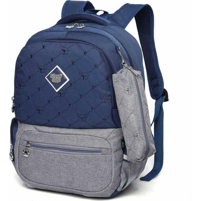 Рюкзак Sun eight школьный в комплекте с пеналом SE-2640 темно-синий/серый