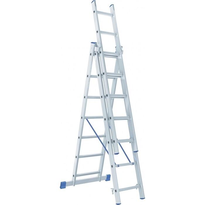 Фото - Лестница трехсекционная СибрТех 3х7 (97817) лестница сибртех 3 х 7 ступеней алюминиевая трехсекционная