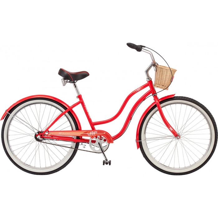 Велосипед Schwinn Scarlet (2019), 3 скорости, корзинка, колёса 26, цвет красный