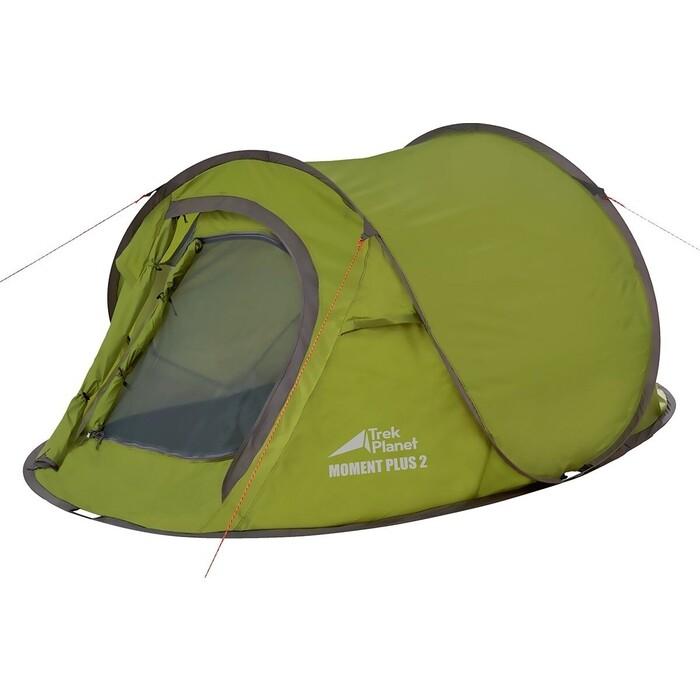 Палатка TREK PLANET двухместная Moment Plus 2, быстросборная цвет- зеленый цена 2017