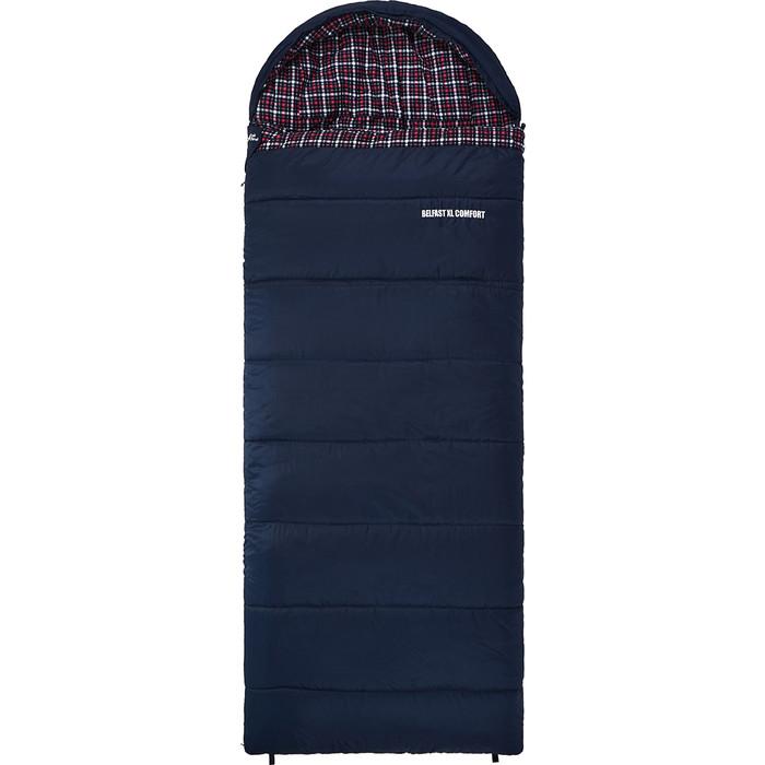 Спальный мешок TREK PLANET Belfast XL Comfort, широкий с фланелью, левая молния, цвет- черный 70394-L