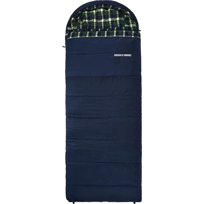 Спальный мешок TREK PLANET Chelsea XL Comfort, широкий с фланелью, левая молния, цвет- синий 70395-L
