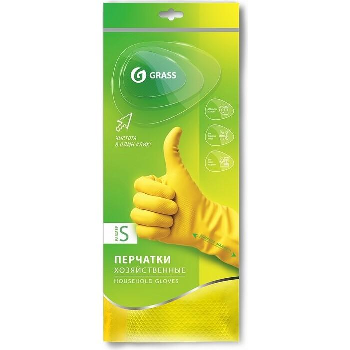 Перчатки GRASS хозяйственные латексные, желтые, размер S, IT-0524