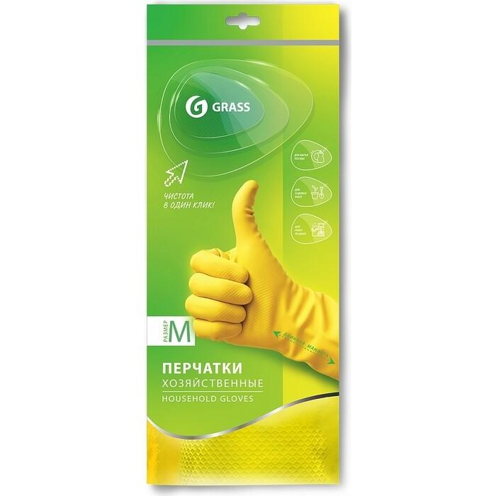 Перчатки GRASS хозяйственные латексные, желтые, размер M, IT-0525