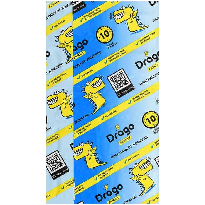 Пластины GRASS Drago от комаров 10 шт в упаковке