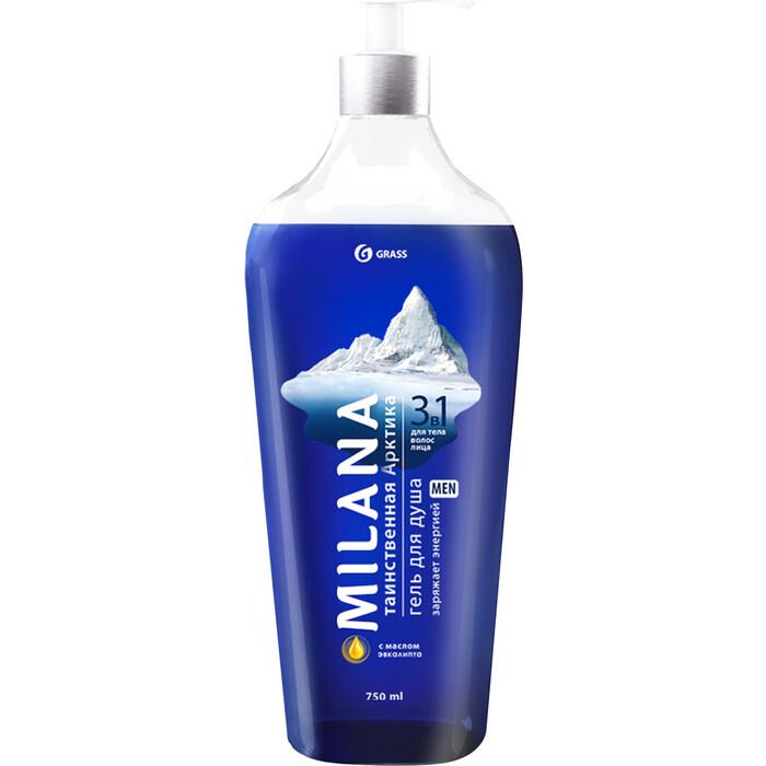 Гель для душа GRASS Milana MEN мужской Таинственная арктика с маслом эвкалипта 750 мл