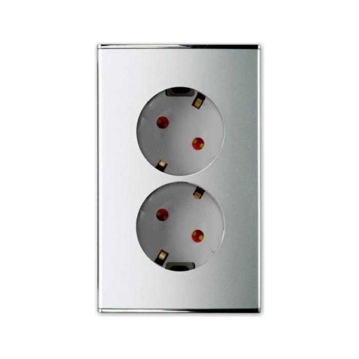 PANASONIC SHIN DONG-A Розетка 2-я з/к, вертикальная, гнёзда 30°, Safety. Parthenon Silver