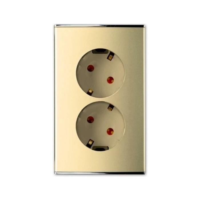 PANASONIC SHIN DONG-A Розетка 2-я з/к, вертикальная, гнёзда 30°, Safety. Parthenon Gold