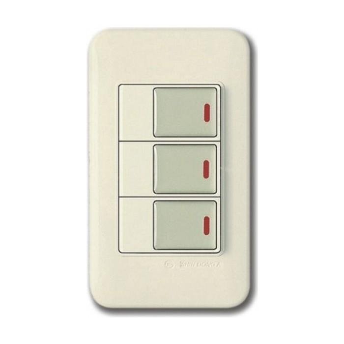 PANASONIC SHIN DONG-A Выключатель 3-кл. подсветка. Бежевый, золот.клавиши