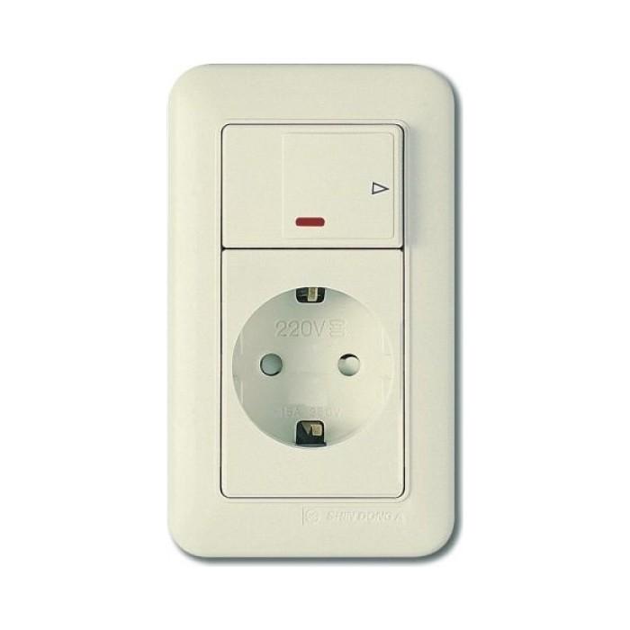 PANASONIC SHIN DONG-A Розетка з/к с выключателем (подсветка). Бежевый