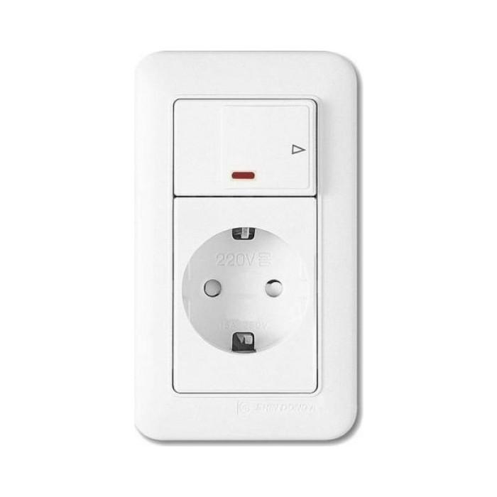 PANASONIC SHIN DONG-A Розетка з/к с выключателем (подсветка). Белый