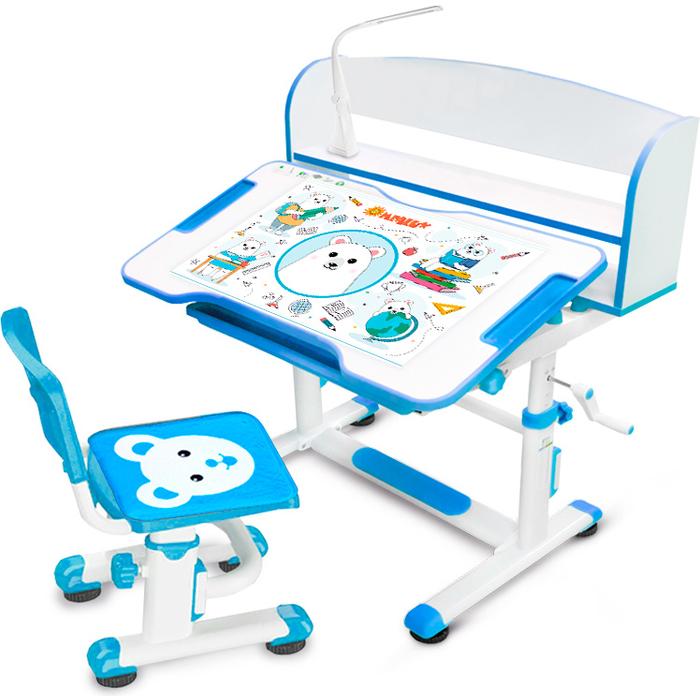 Комплект мебели (столик + стульчик) Mealux BD-10 blue с лампой