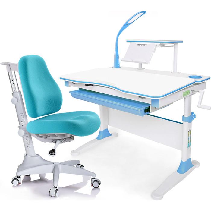 Комплект мебели (стол+полка+кресло+лампа) Mealux Evo-30 BL (Evo-30 + Y-528 KBL) дерево/белая столешница дерево/пластик голубой