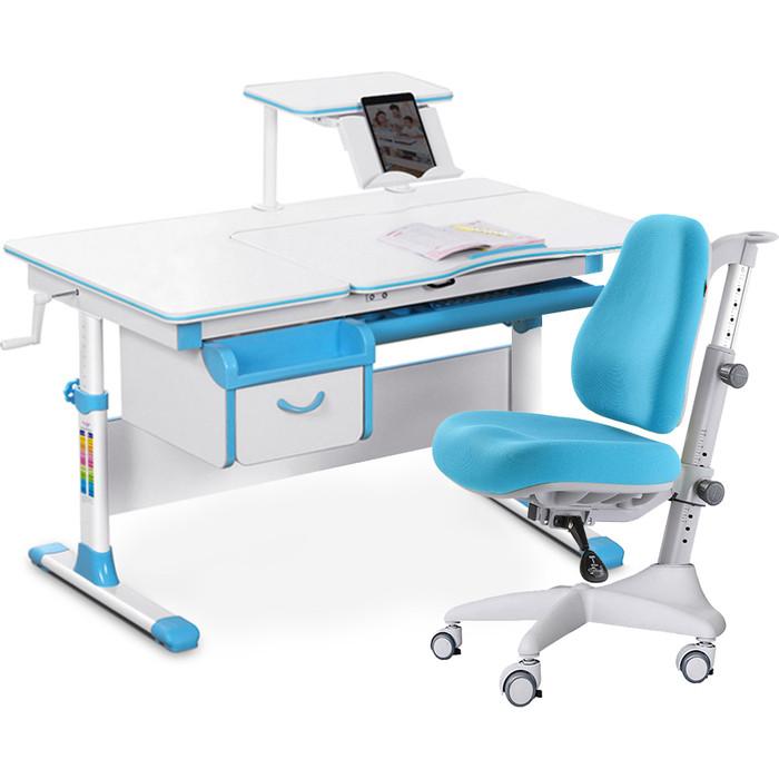 Комплект мебели (стол+полка+кресло+чехол) Mealux Evo-40 BL (Evo-40 + Y-528 KBL) белая столешница/пластик голубой