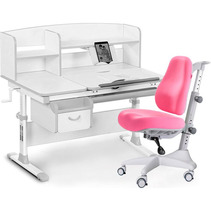 Комплект мебели (стол+полка+кресло+чехол Mealux Evo-50 G (Evo-50 + Y-528 KP) белая столешница/ пластик серый