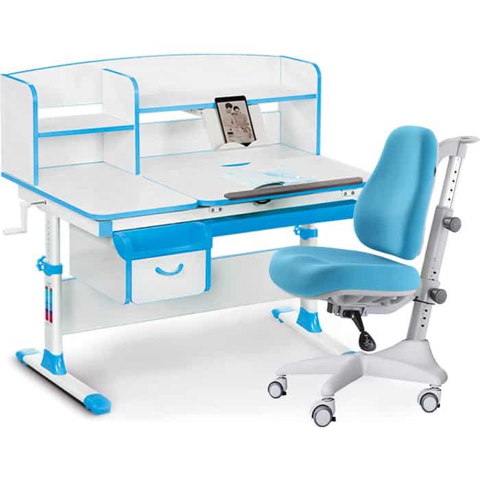 Комплект мебели (стол+полка+кресло) Mealux Evo-50 BL (Evo-50 + Y-528 KBL) белая столешница/ пластик голубой