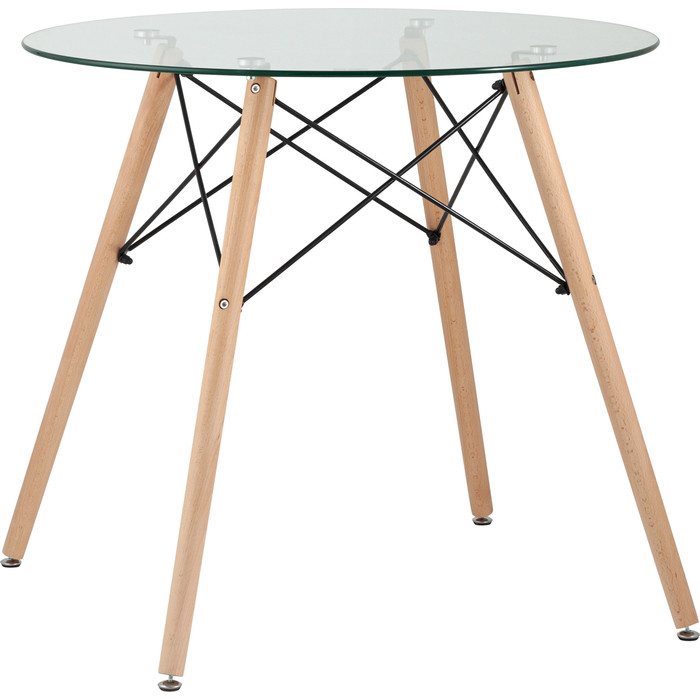 Стол круглый Stool Group Eames DSW D80 стеклянный/деревянные ножки Chad glass
