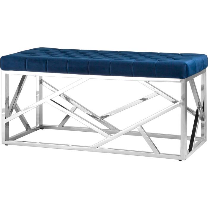 Банкетка-скамейка Stool Group Арт деко вельвет синий/сталь серебро Bench-016
