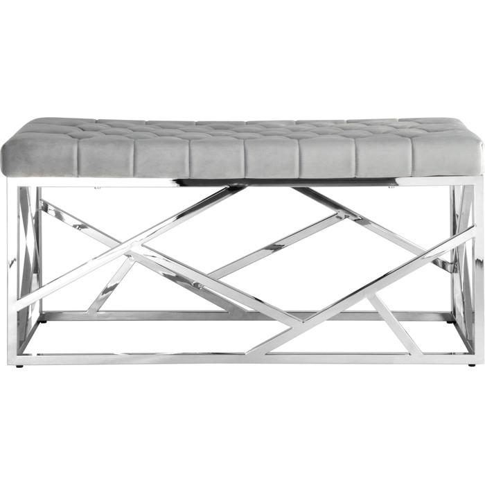 Банкетка-скамейка Stool Group Арт деко вельвет серый/сталь серебро Bench-016-GR