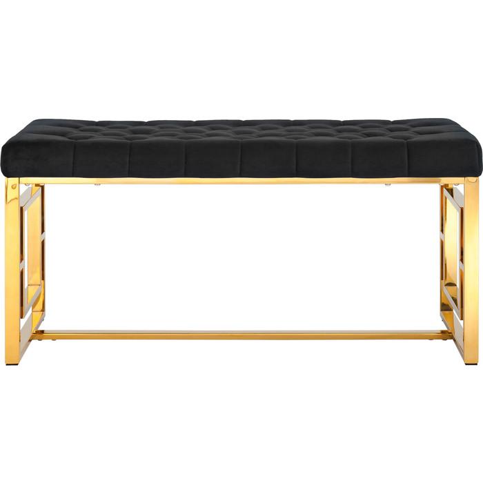 Банкетка-скамейка Stool Group Бруклин вельвет черный/сталь золото Bench-012-TG
