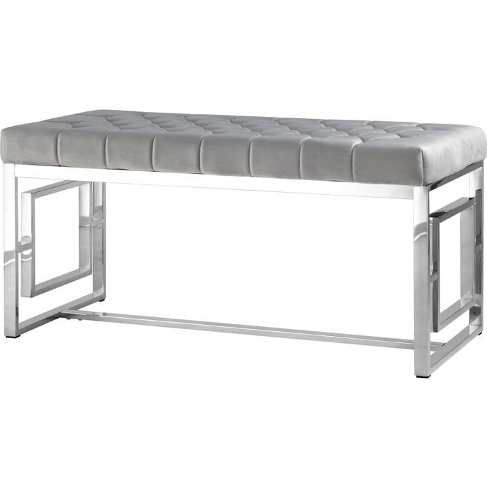 Банкетка-скамейка Stool Group Бруклин вельвет серый/сталь серебро Bench-012-GR